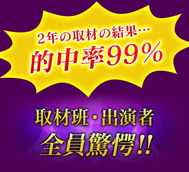 2年の取材の結果…的中率99% 取材班・出演者全員驚愕!!